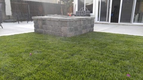 Square Fire Pit, Angelus stone wall rustic pavers, gray moss charcoal color