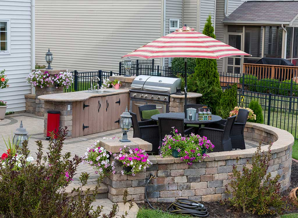 A Patio With an Outdoor Kitchen
